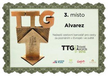 Ocenění TTG - Nejlepší cestovní kancelář pro cesty za poznáním v Evropě i ve světě - 3. místo 2016