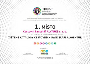 Diplom Turistpropag - Tištěné katalogy cestovních kanceláří a agentur - 1. místo 2017
