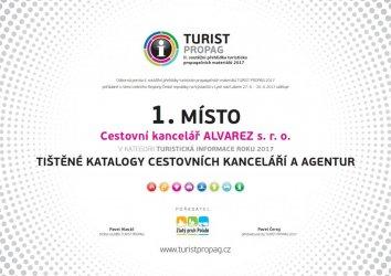 Diplom Turistpropag - 1. místo 2017
