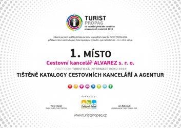 Diplom Turistpropag - Tištěné katalogy cestovních kanceláří a agentur - 1. místo 2018