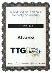 Ocenění TTG - Nejlepší cestovní kancelář pro cesty do Ameriky - 3. místo 2017