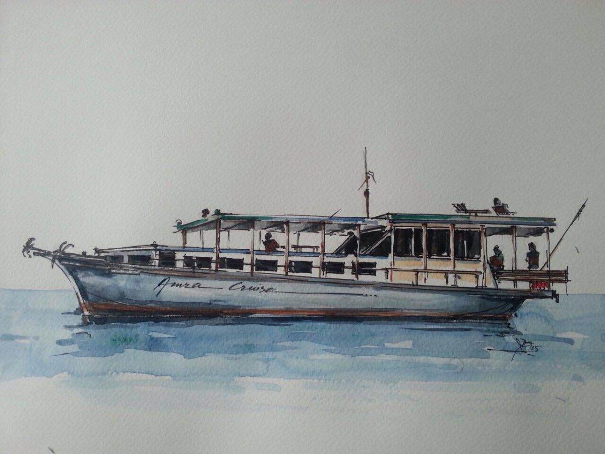 Loď na Maledivách